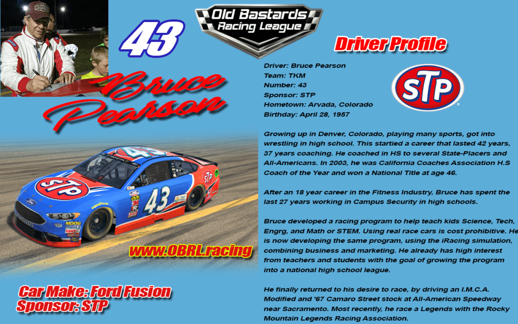 Bruce Pearson #43 - iRacing Nascar Driver No.43 STP - iRacing Leagues
