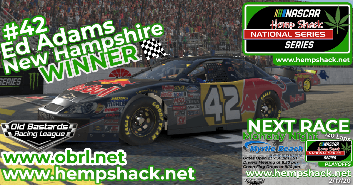 "Ed ""Larson"" Adams #42 Wins Nascar ARCA Hemp Shack CBD Race at New Hampshire!"