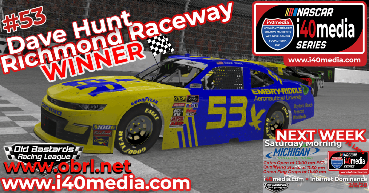 Dave Hunt #53 Wins Nascar i40media Grand National Xfinity Race at Richmond Raceway!