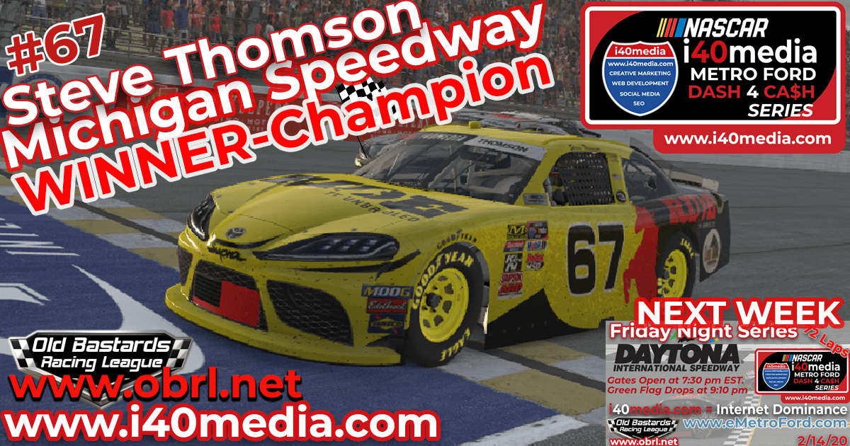 🏁 Steve Thomson #67 Ride TV Wins Nascar i40media Grand National Championship and Race at Michigan!