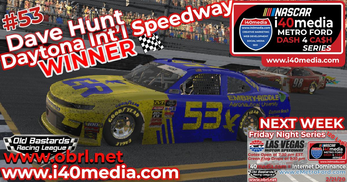Dave Hunt #53 Wins Nascar i40media Metro Ford Chicago Grand National Race at Daytona!