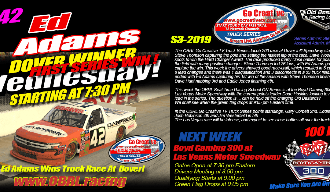 🏁Ed Larson Adams #42 Wins Go Creative ISP Truck Race at Dover Int'l Speedway!