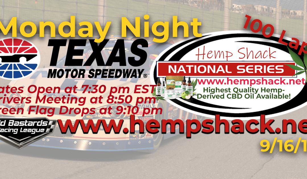 🏁WINNER: Eddie Jones #14! Week #2 Hemp Shack CBD Oil National Series Race at Texas Motor Speedway – 9/16/19 Monday Nights