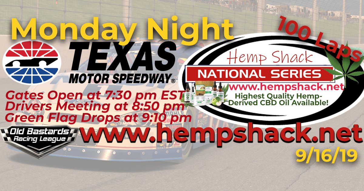 Nascar iRacing CBD Oil National Series Race at Texas Motor Speedway - 9/16/19
