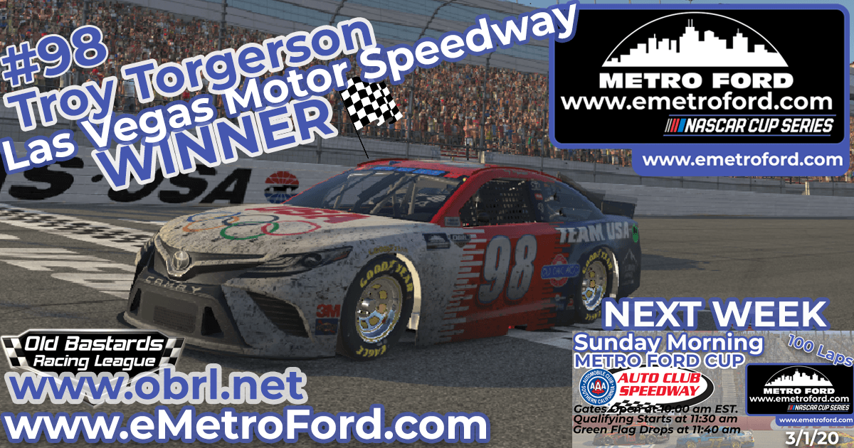 Troy Torgerson #98 Wins Nascar Metro Ford Cup Race at Las Vegas Motor Speedway!