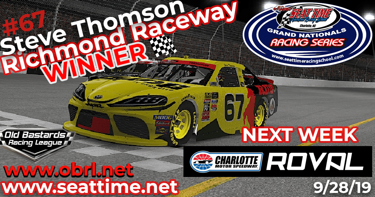 🏁 Steve Thomson #67 Hemp Shack / Ride TV Wins Nascar iRacing Xfinity Race at Richmond Raceway!