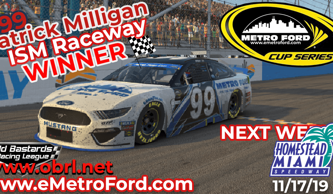 🏁 Patrick Milligan #99 Nails First Win in Nascar Metro Ford Chicago Cup Race at ISM Raceway!
