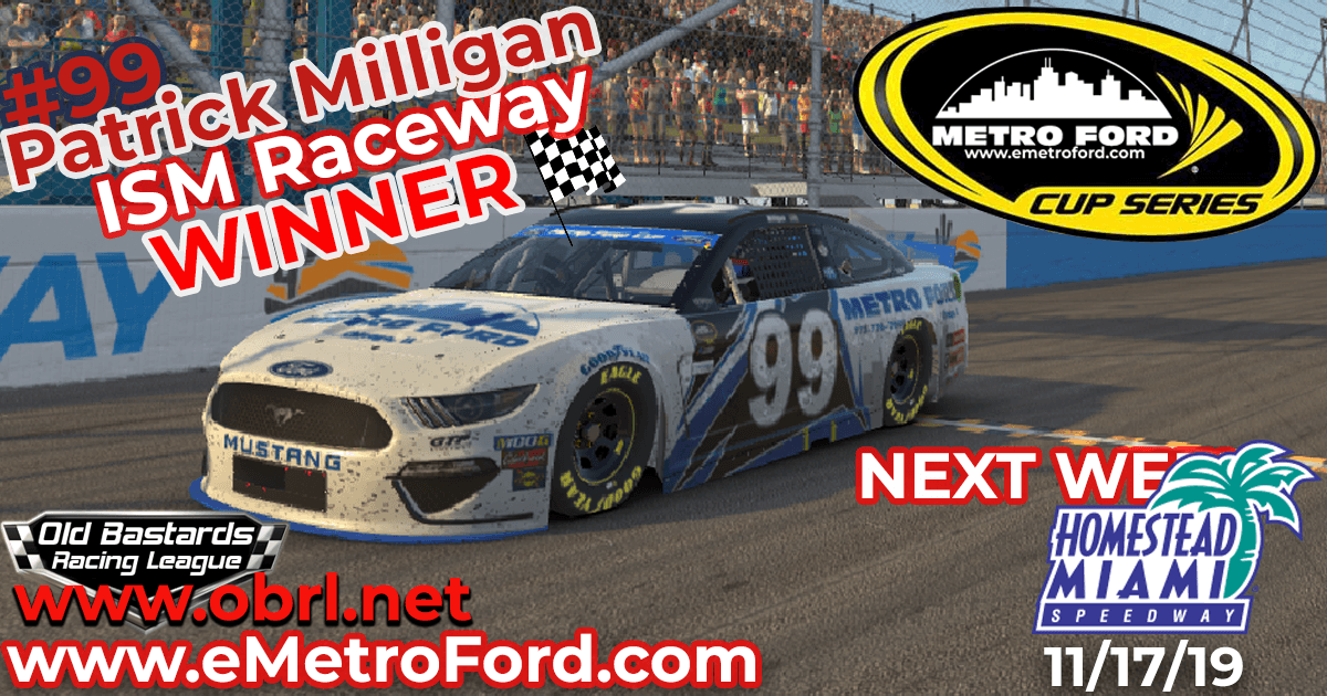 Patrick Milligan #99 Nails First Win in Nascar Metro Ford Chicago Cup Race at ISM Raceway!
