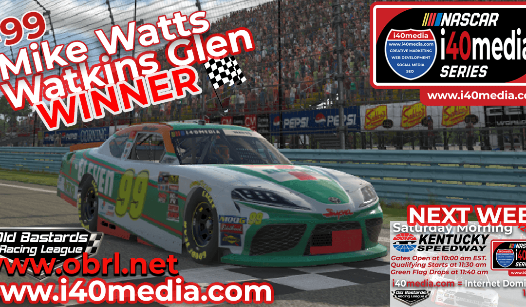 🏁 Mike Fiddy Watts Wins Nascar i40media Grand National Race at Watkins Glen Int'l!