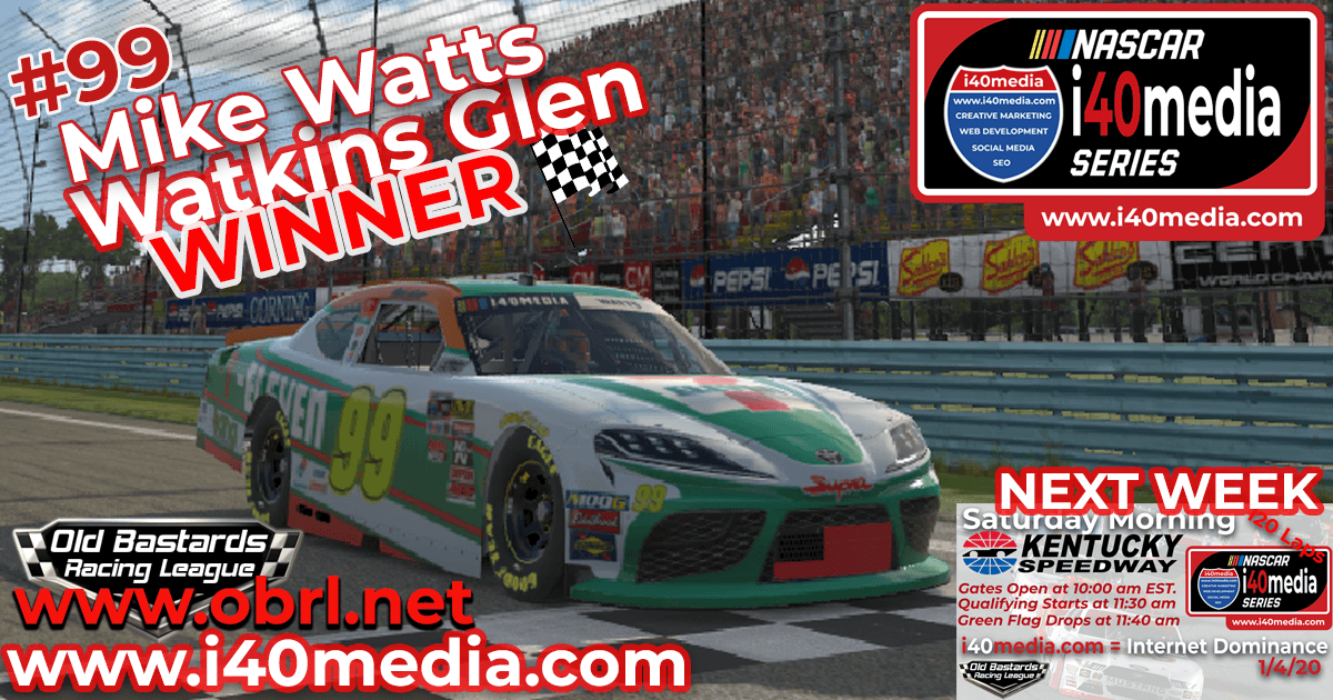 Mike Fiddy Watts Wins Nascar i40media Grand National Race at Watkins Glen
