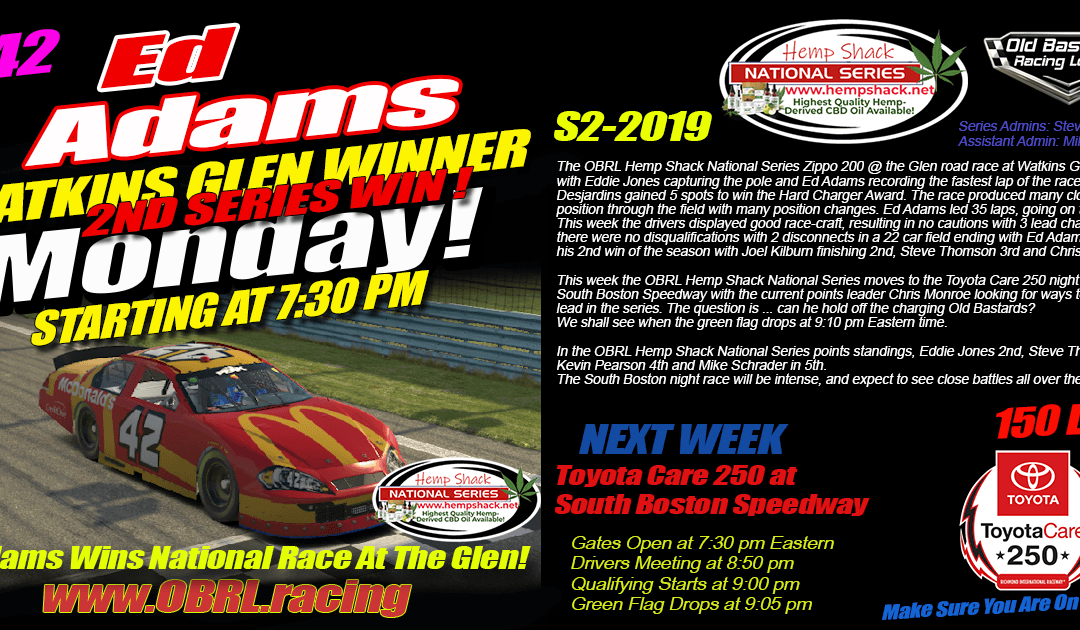 "🏁Ed ""Larson"" Adams #42 Wins the Hemp Shack CBD OIL Nascar National Series Race at Watkins Glen!"