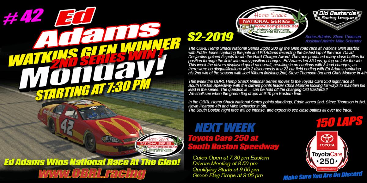 "Ed ""Larson"" Adams #42 Wins the Hemp Shack CBD OIL Nascar National Series Race at Watkins Glen"