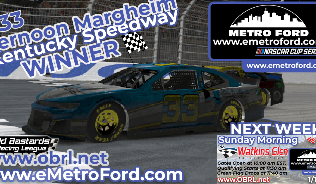 🏁 Vernon Margheim #33 Wins Nascar Metro Ford Chicago Cup Race at Kentucky Speedway!
