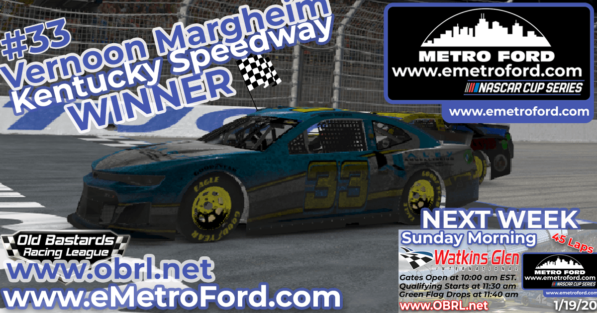 Vernon Margheim #33 Wins Nascar Metro Ford Chicago Cup Race at Kentucky Speedway!