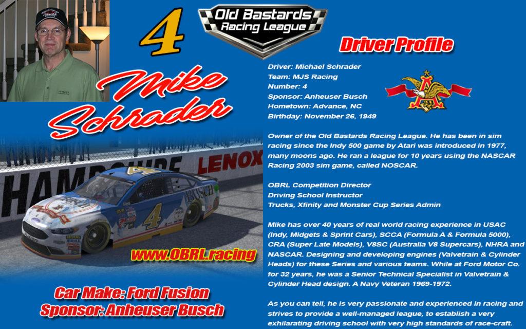#4 Mike Schrader Michael Schrader Nascar Driver