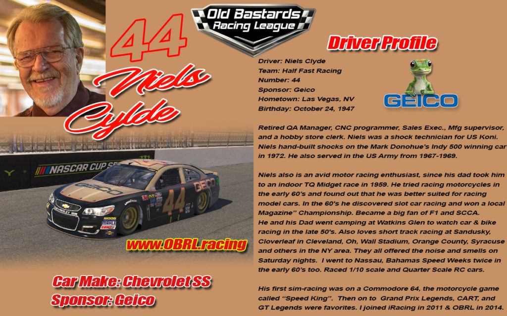 #44 Niels Clyde Driver of the Gieco Chevy in the Monster Cup Series