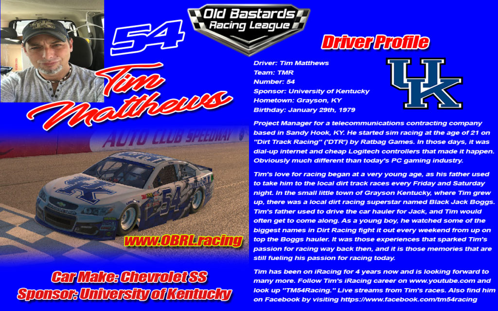 Tim Matthews Driver of the #54 Race Car in the Monster Cup Series, Xfinity Series, Truck Series and ARCA Series