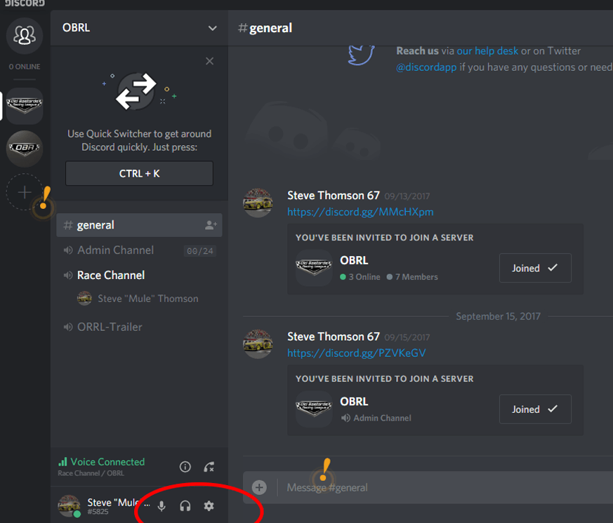 Discord Settings Old Bastards Racing League