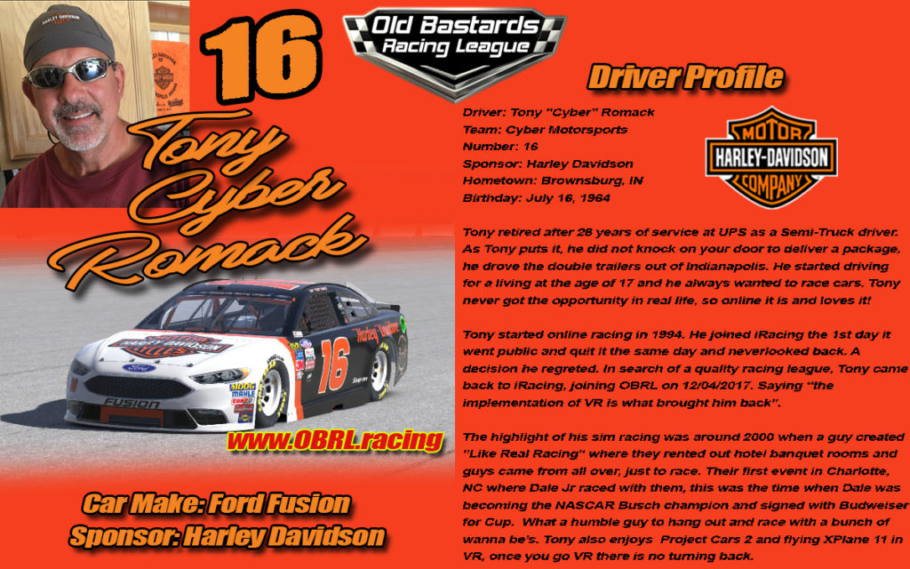 Tony Romack Driver of the Number 16 Harley Davidson Sponsored Ford Fusion