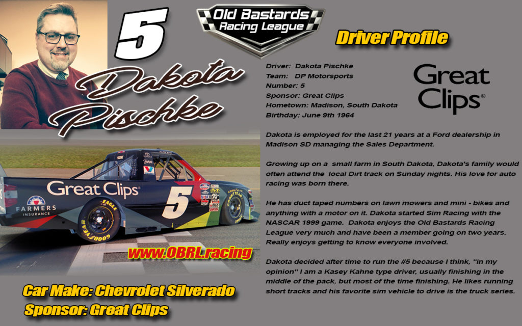 Dakota Pischke Driver of the Nascar Monster Energy Cup Great Clips Sponsored #5