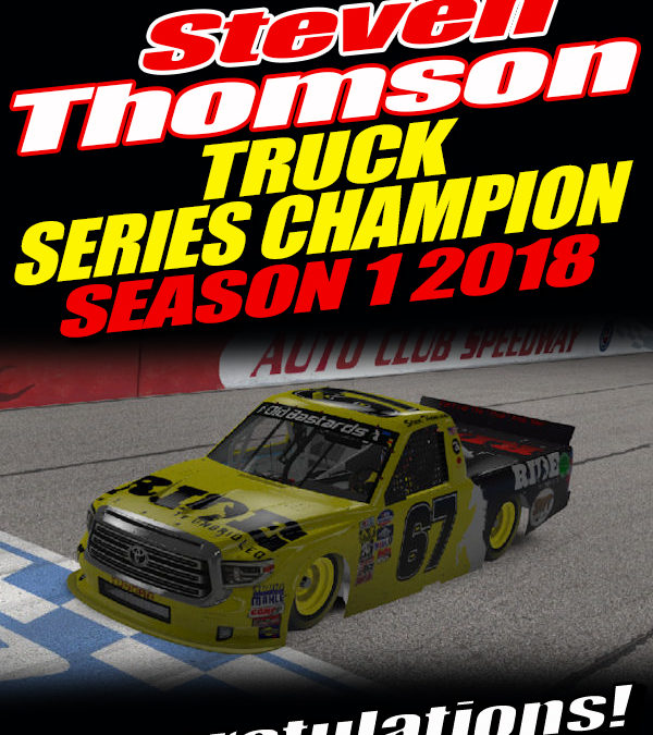 Steve Thomson #67 Ride TV Racing Wins Nascar iRacing Truck