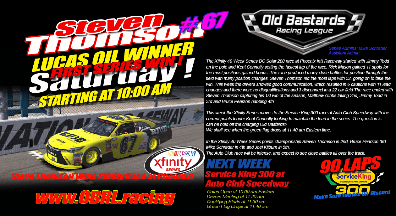 Steve Thomson Driver Of The No 67 Ride Tv Racing Toyota Camry Wins Nascar
