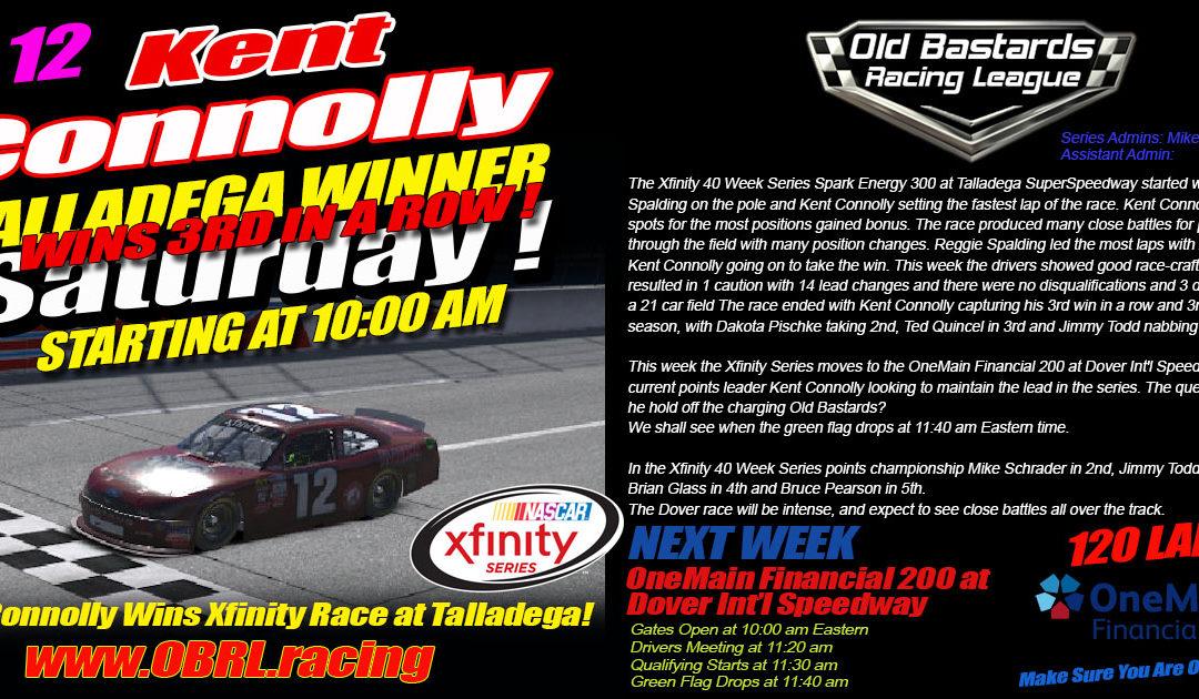 Ol' Bastard Kent Connolly Wins 3rd In A Row iRacing League Xfinity Race at Talladega!
