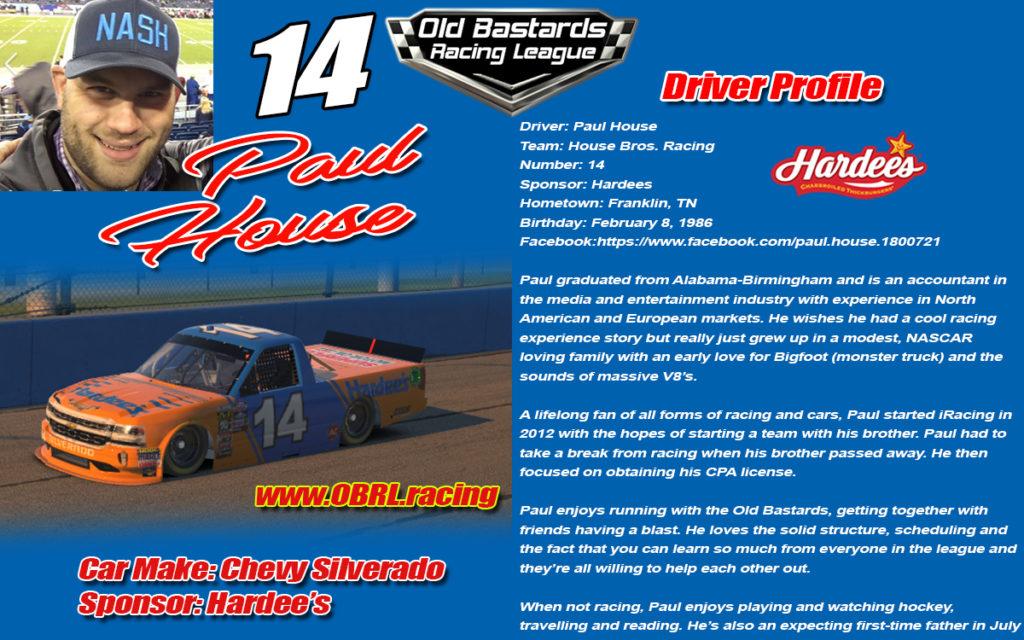 iRacing Nascar Driver Paul House #14 Old Bastard Racing League Driver