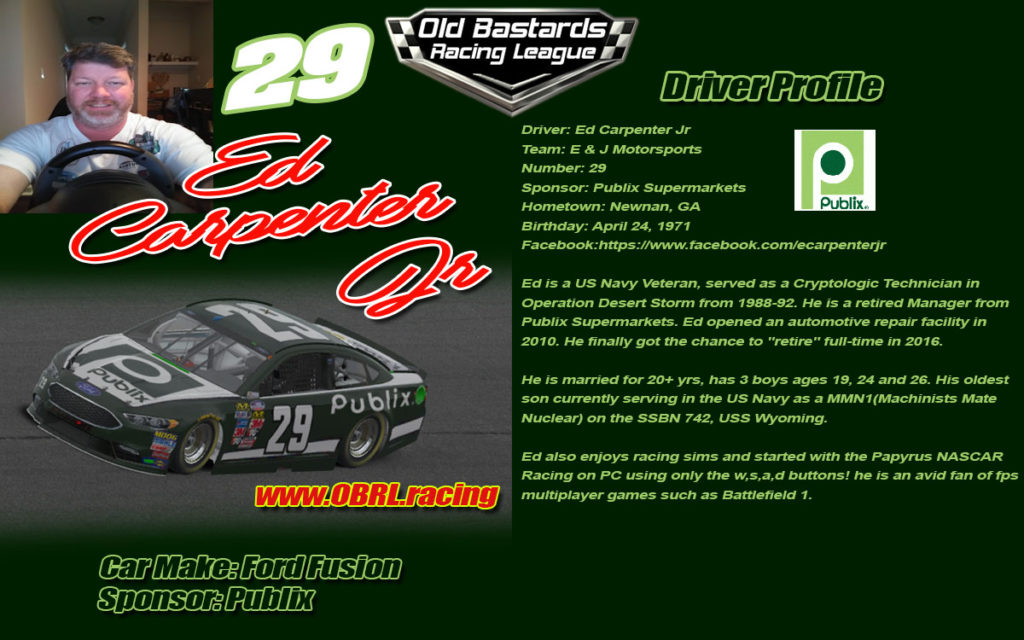 Ed Carpenter Jr #29 Number 29 Nascar Racing Driver, Nascar Monster Cup Series, #29 Nascar Xfinity Series, No. 29 Nascar Camping World Truck Series. iRacing League Sponsored by Publix Supermarkets