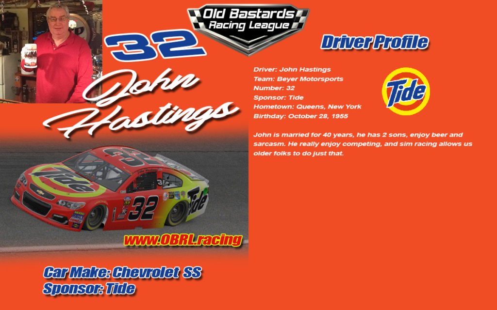 John Hastings Number 32 Nascar Racing Driver, Nascar Monster Cup Series, #32 Nascar Xfinity Series, No. 32 Nascar Camping World Truck Series. iRacing League Sponsored by Tide