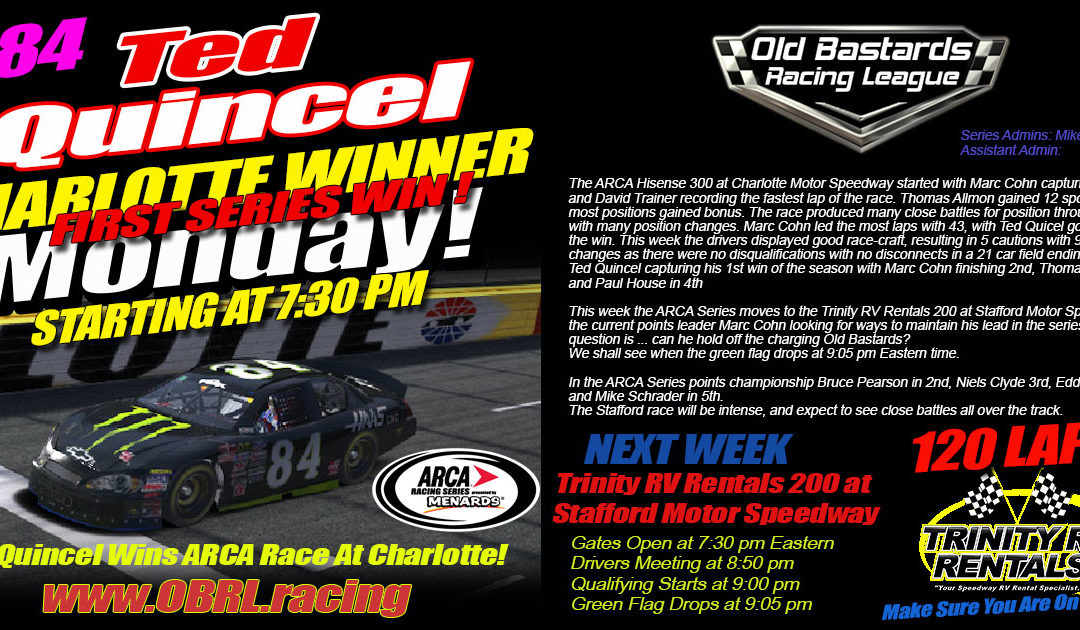 Old bastard ted quincel wins arca race at charlotte motor for Charlotte motor speedway driving school