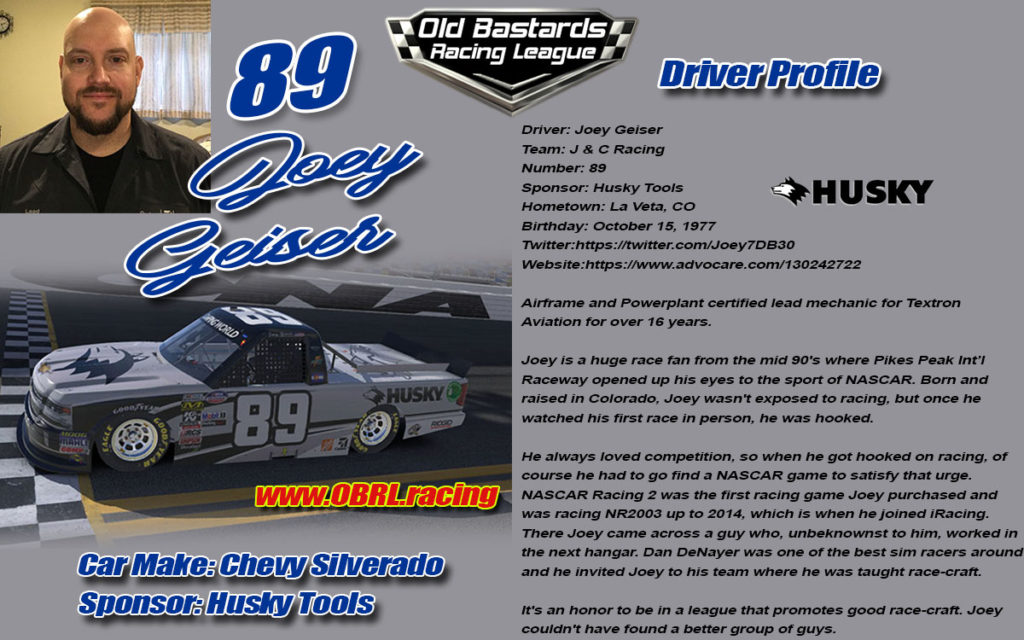 Joey Geiser Number 89 Nascar Racing Driver