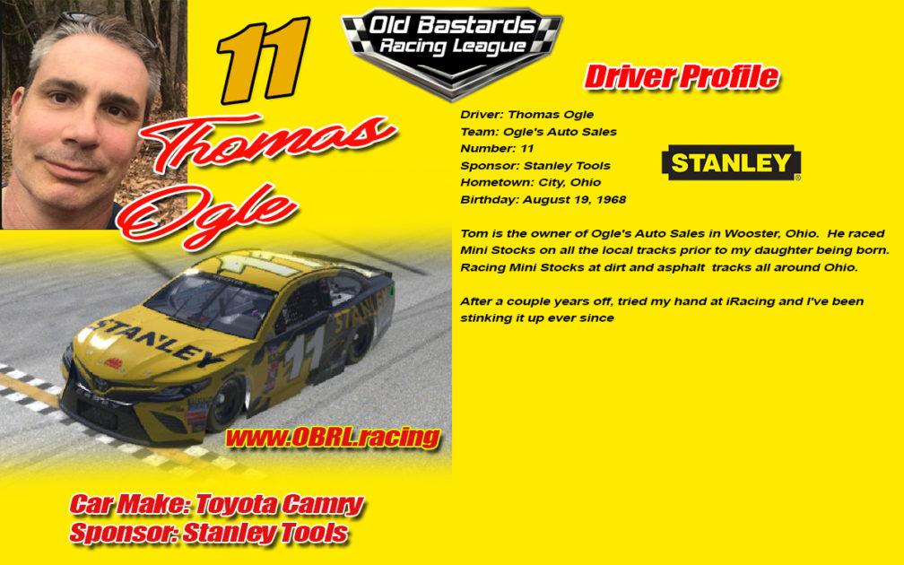 Thomas Ogle #11 Ogle's Auto Sales Nascar Monster Energy Cup Driver