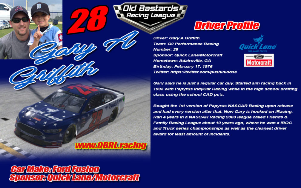Gary A Griffith #28 Quick Lane Motorcraft Nascar Driver Griff