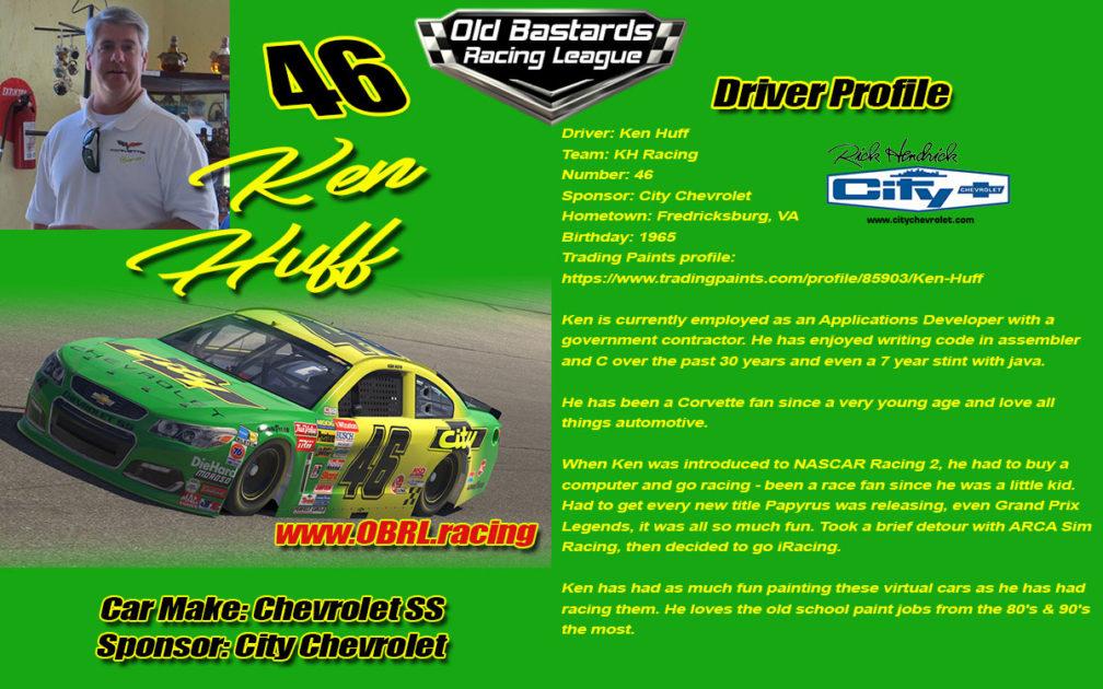 Ken Huff #46 City Chevrolet Nascar Monster Energy Cup Driver