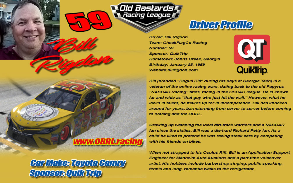 Bill Rigdon #59 Driver in the Nascar Monster Energy Cup iRacing Series in the OBRL