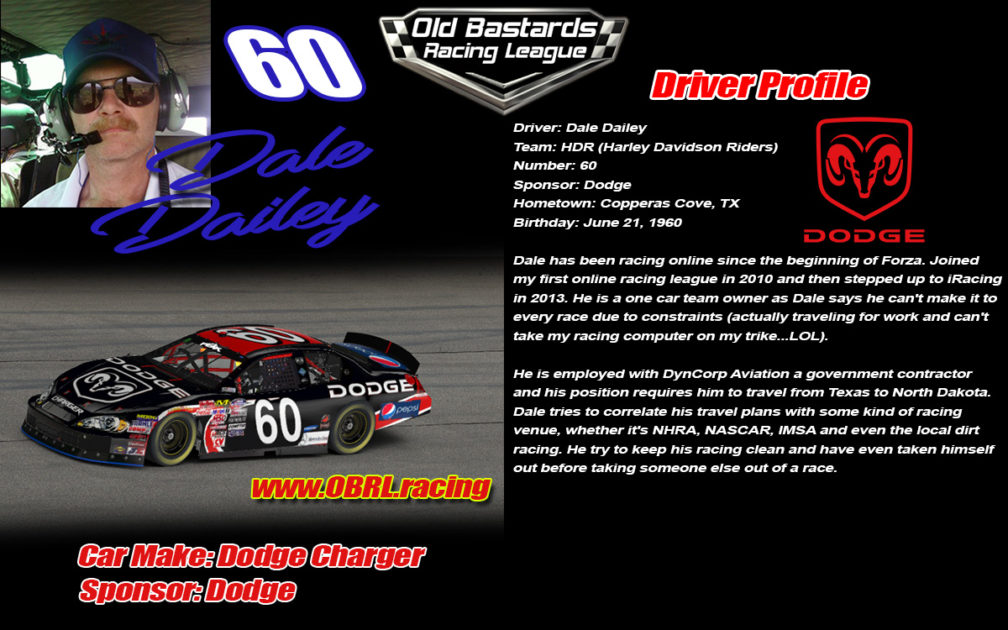Dale Dailey #60 Nascar Driver of the ARMY Nascar Monster Energy Cup Sponsored Stock Car in the OBRL