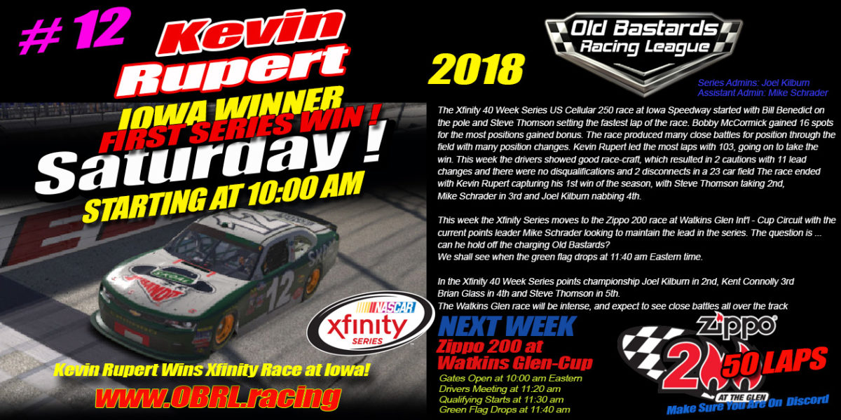 Kevin Rupert #12 Out Drives the #67 to Win Nascar iRacing Xfinity Race At Iowa Speedway!