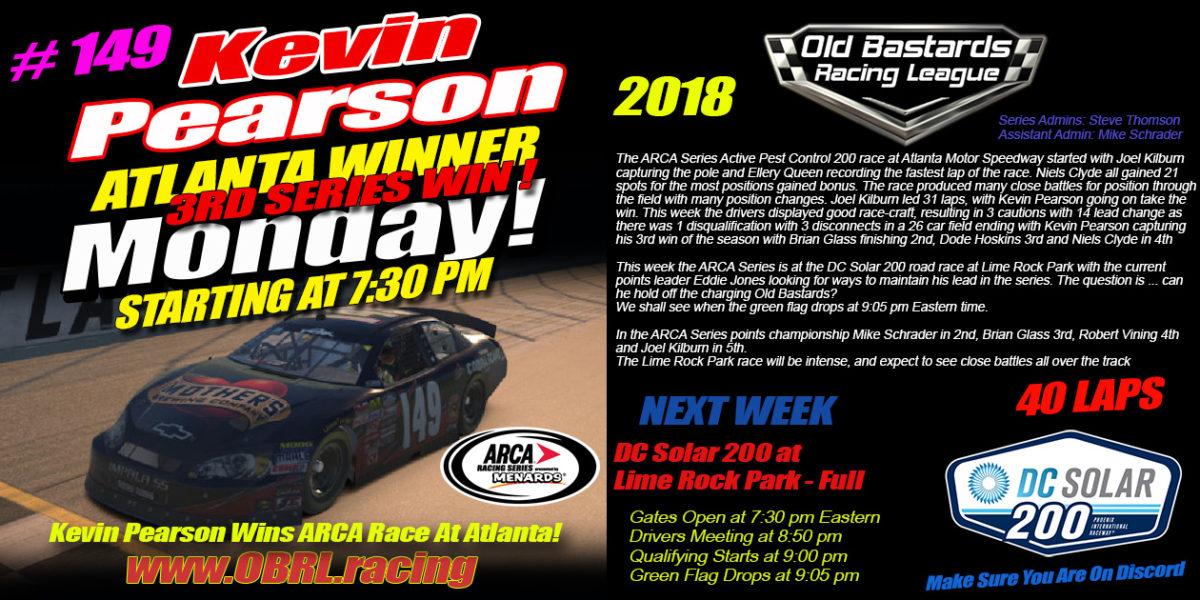 Kevin Pearson Wins ARCA Race At Atlanta!