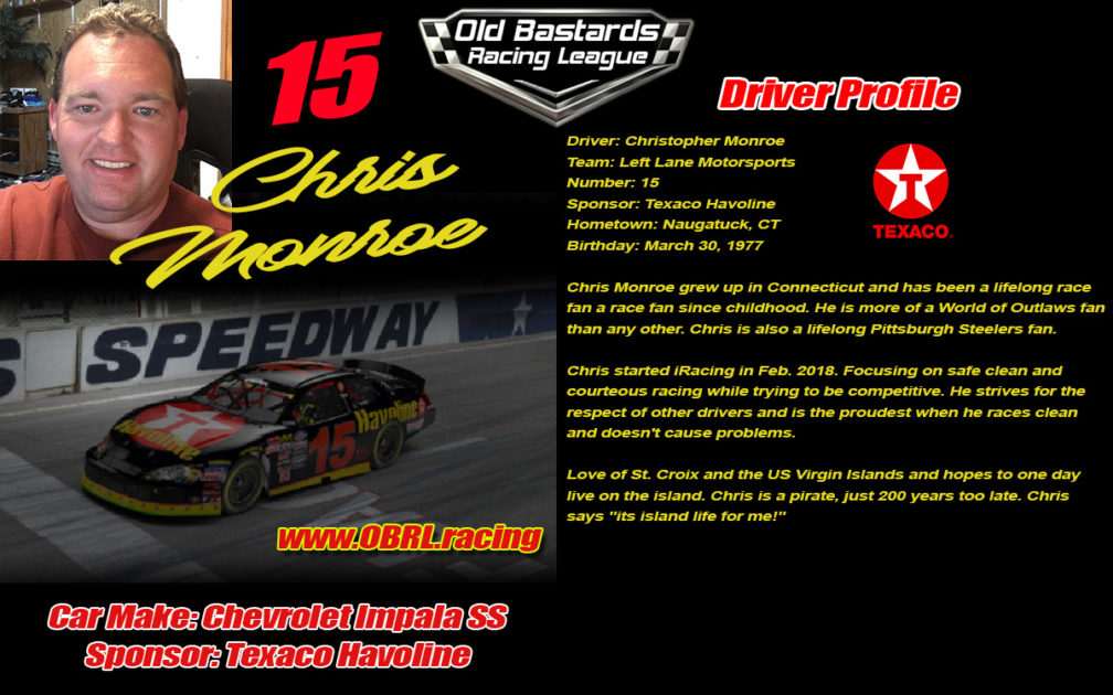 Christopher Monroe #15 Nascar Monster Energy Cup Driver of the #15 St. Croix Water Sports Center