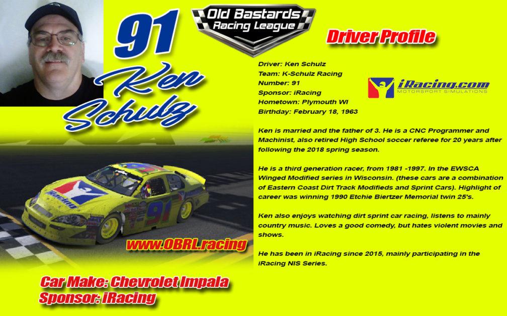 Ken Schulz #91 Nascar Monster Energy Cup Driver