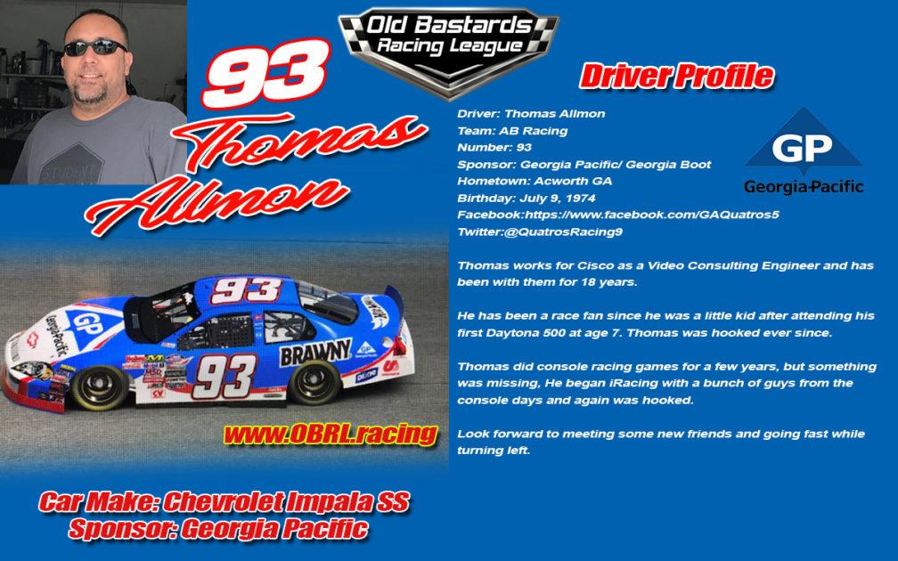 Thomas Allmon #93 Nascar Monster Energy Cup Series Driver