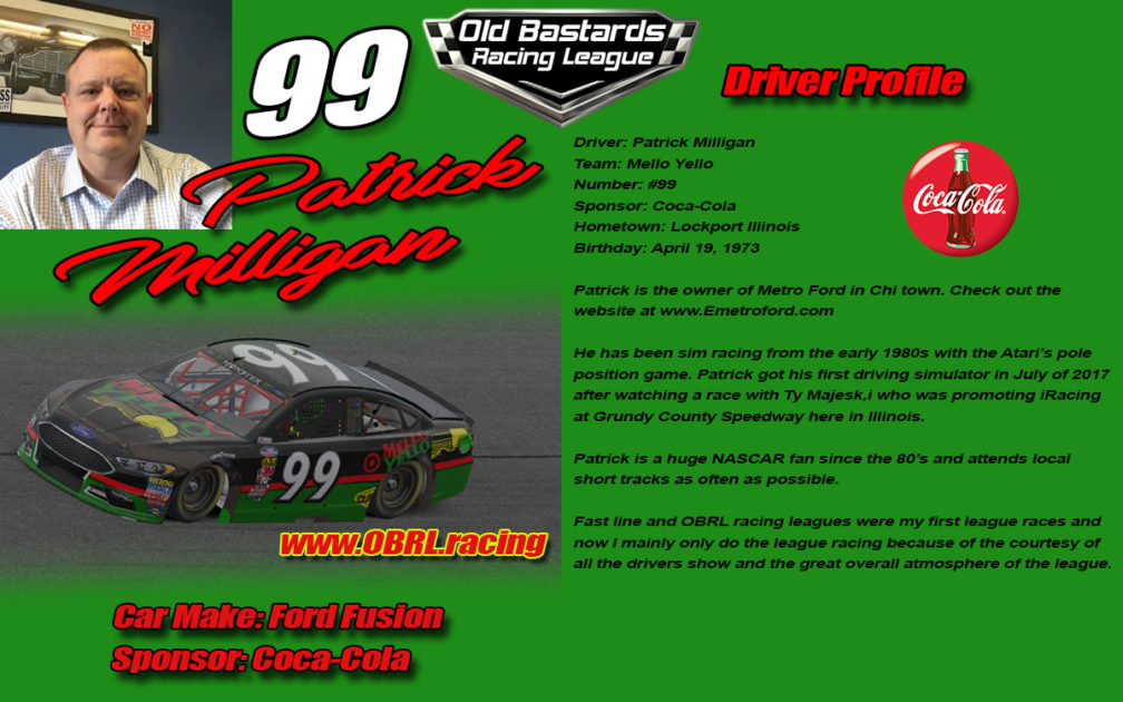 Patrick Milligan #99 Nascar Monster Energy Cup Driver
