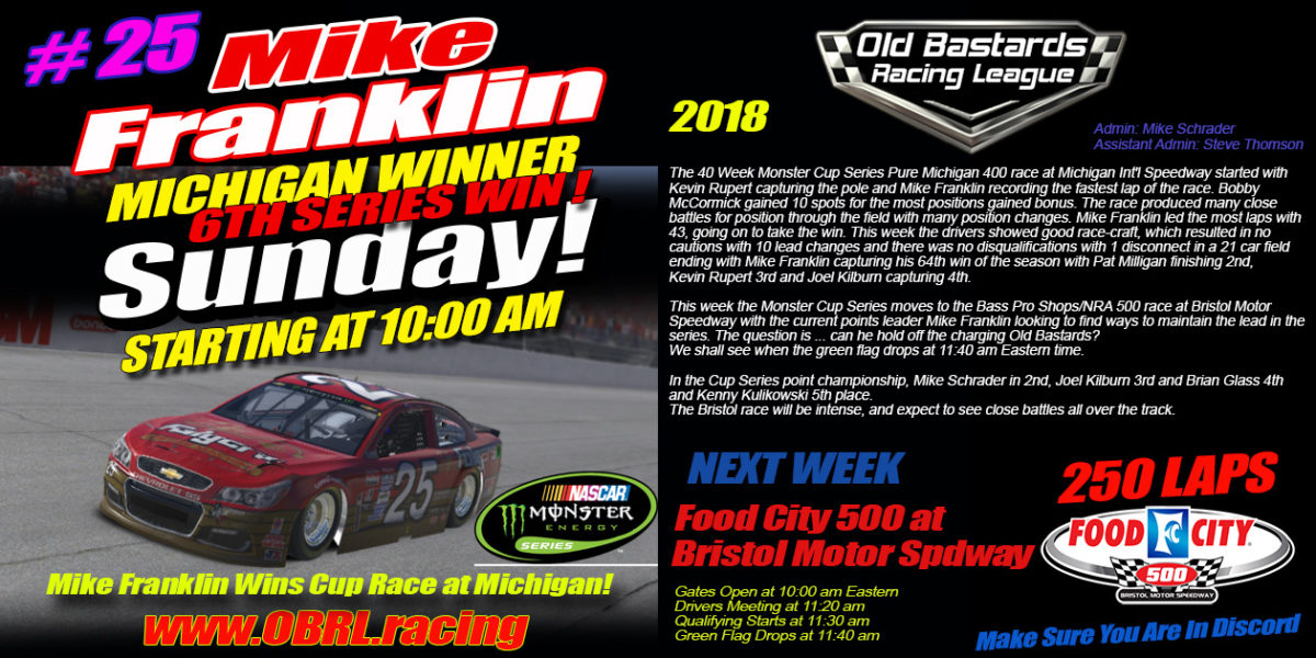 Mike Franklin Wins Cup Race at Michigan International Speedway in the Nascar Monster Energy Cup Race