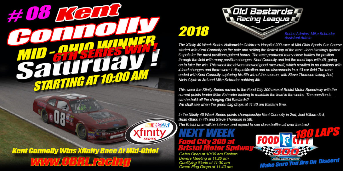 Kent Connolly Wins Nascar Xfinity Race at Mid-Ohio Sports Course Park in the iRacing League OBRL