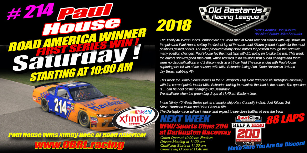 🏁Paul House Wins iRacing Nascar Xfinity Race at Road America!