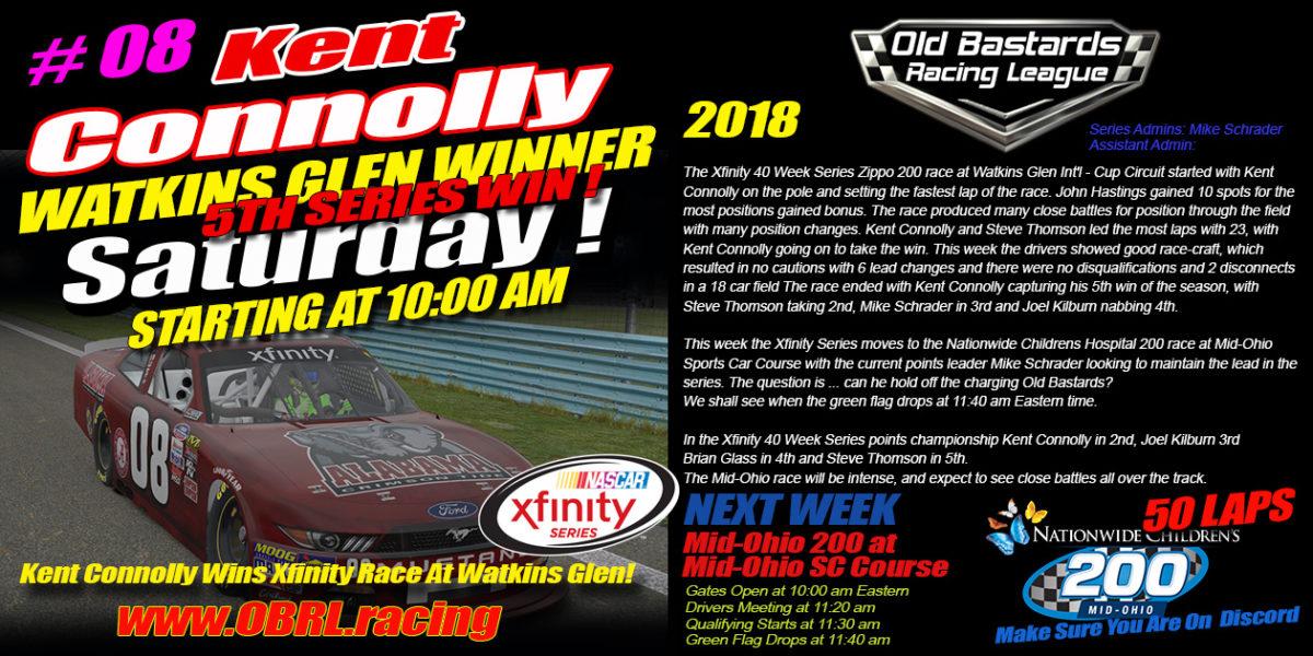 "🏁Kent ""Big Time"" Connolly Driver of the #08 Bama Roll Tide Sponsored Nascar Xfinity Car Wins Watkins Glen International RACE"
