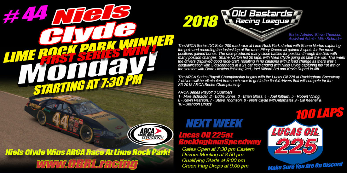 Niels Clyde Wins iRacing National Series ARCA K&N Pro Race at Lime Rock Park!