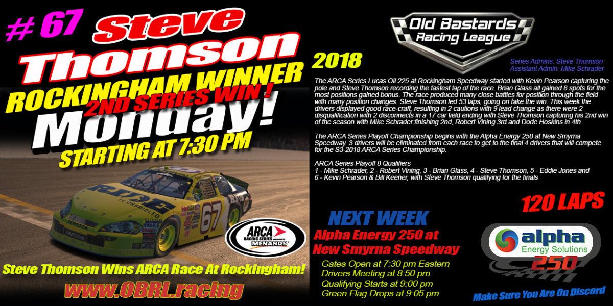 🏁Steve Thomson #67 RideTV.com Wins iRacing Nascar ARCA Race at Rockingham!