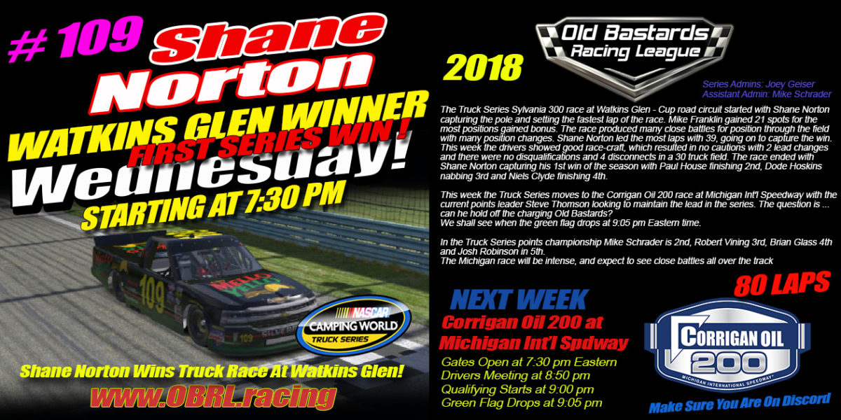 Shane Norton Blows Away The Competition At Watkins Glen iRacing Nascar Camping World Truck Race!